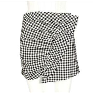 Zara ruched, ruffle, gingham check skirt sz-small